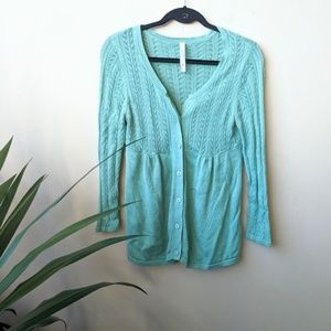 Fossil Turquoise Knit Button Down Cardigan size M